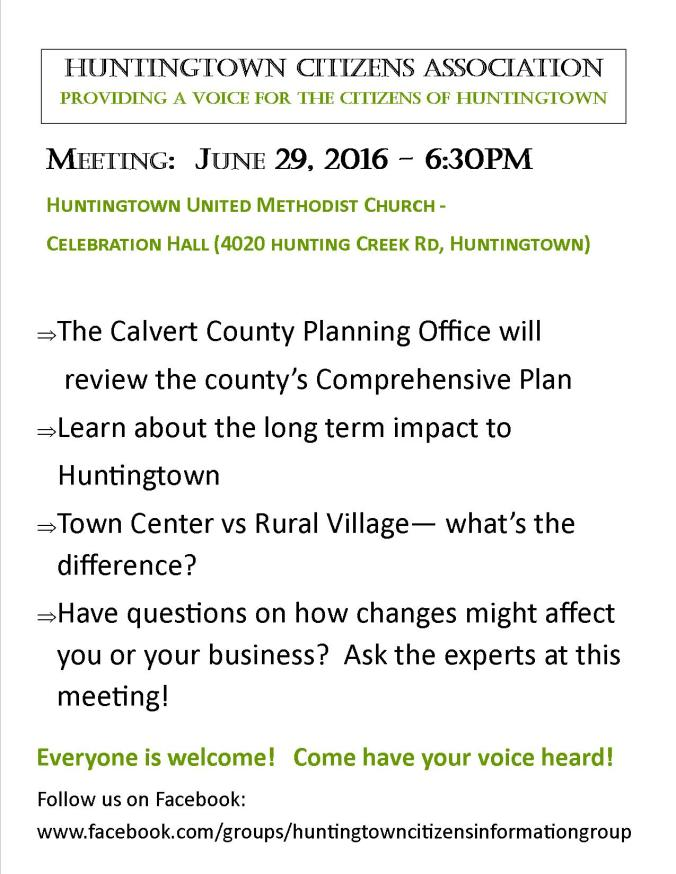 Revised Huntingtown Meeting 0616